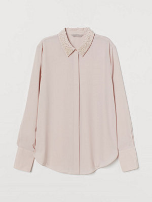 H&M Blus med pärlor rosa