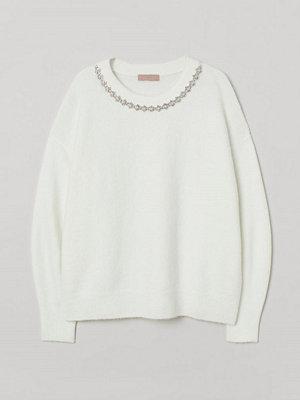 H&M H & M+ Finstickad tröja vit
