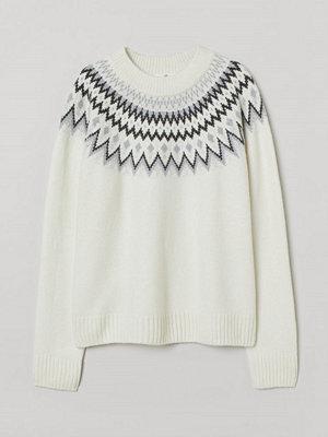 H&M Jacquardstickad tröja vit