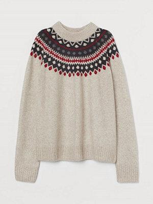 H&M Jacquardstickad tröja brun