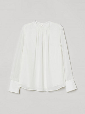 H&M Blus med veck vit