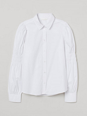H&M Bomullsblus med puffärm vit