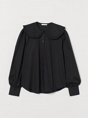 H&M Blus med stor krage svart