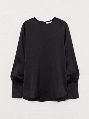 H&M Blus i silkesmix svart