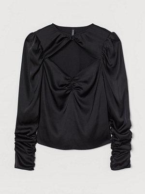 H&M Draperad satinblus svart