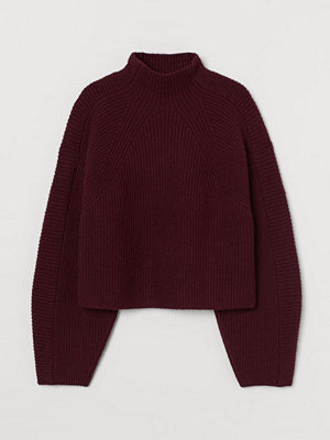 H&M Stickad tröja med halvpolo röd