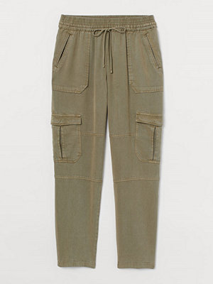 H&M omönstrade byxor Pull on-byxa grön