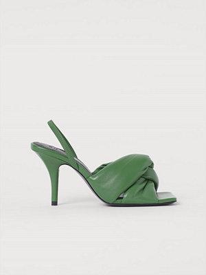 H&M Vadderade lädersandaletter grön