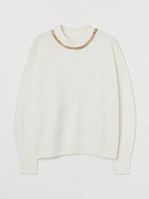 H&M Stickad tröja med kedja vit