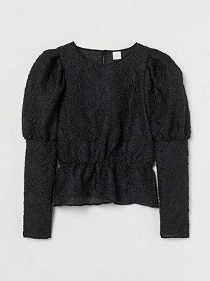 H&M Jacquardvävd blus svart