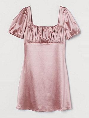 H&M Klänning med puffärm rosa
