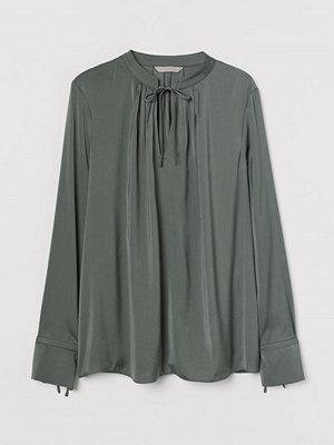 H&M Blus med knytband grön