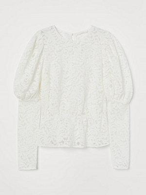 H&M Blus i spets vit