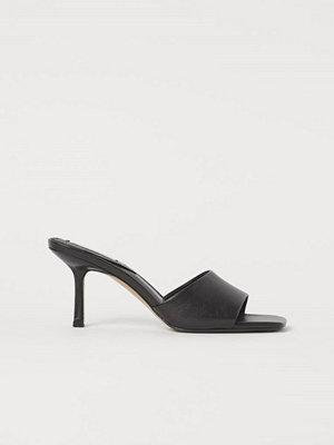 H&M Slip in-sandaletter i läder svart