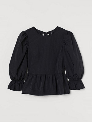 H&M Peplumblus med puffärm svart
