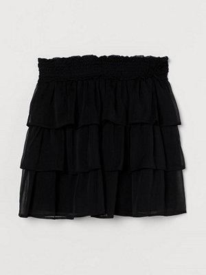H&M Kort volangkjol svart