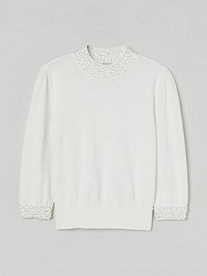 H&M Tröja med pärlor vit