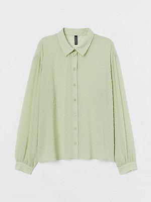 H&M Blus i chiffongplumeti grön