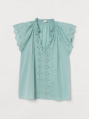 H&M Blus med broderie anglaise grön