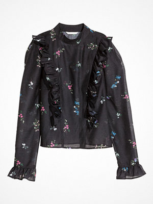 H&M Volangblus med puffärm svart