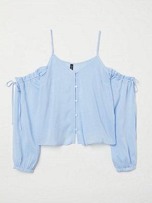 H&M Cold shoulder-blus blå