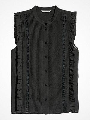 H&M Blus med stråveck svart