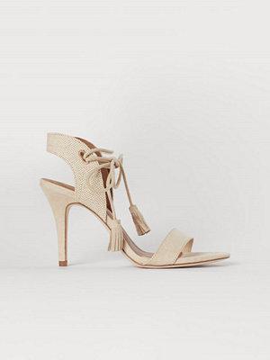 H&M Sandaletter med knytband beige