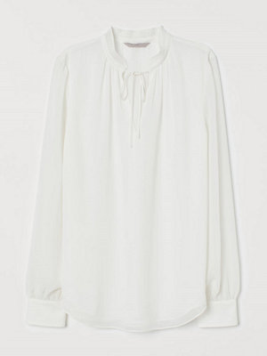 H&M Blus med plisserad krage vit