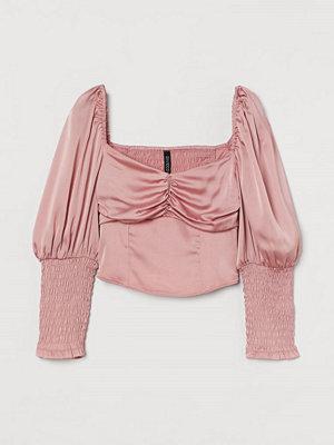 H&M Blus med puffärm rosa