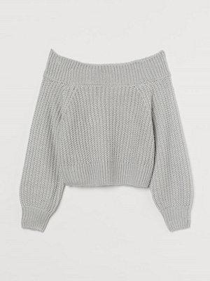 H&M Off shoulder-tröja grå