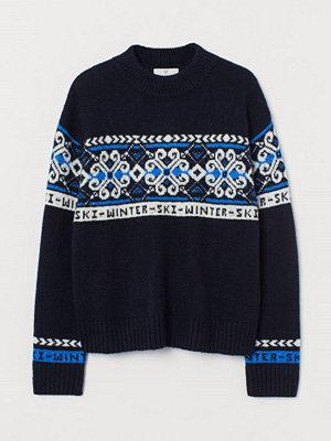 H&M Jacquardstickad tröja blå