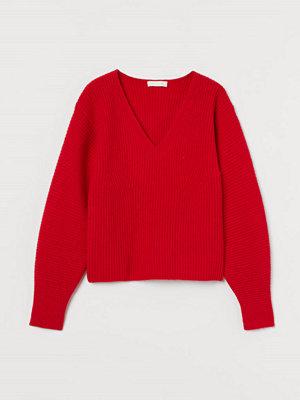 H&M Ribbstickad tröja röd