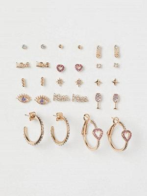 H&M 14 par örhängen guld