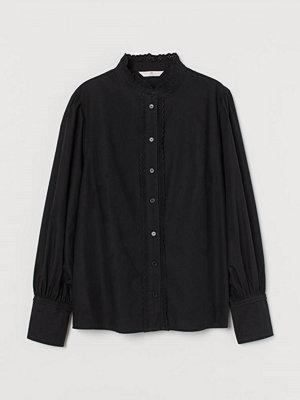 H&M Blus med broderier svart