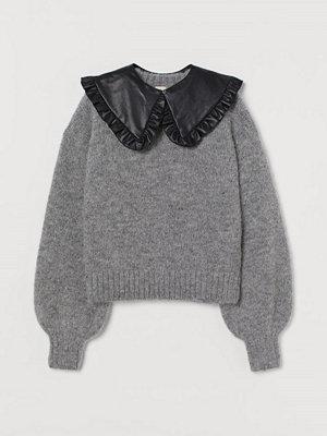 H&M Ulltröja med krage grå