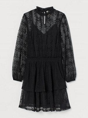 H&M Broderad meshklänning svart