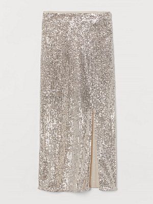 H&M Paljettkjol med slits silver