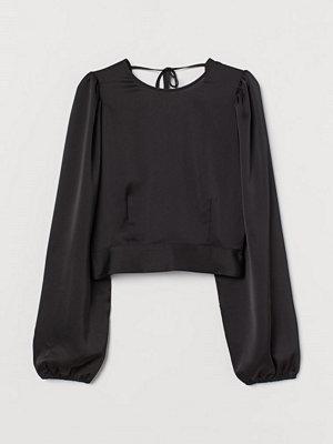 H&M Blus med öppen rygg svart