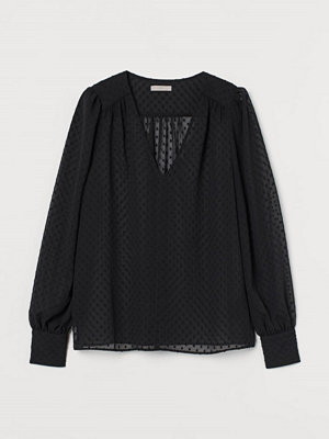 H&M Blus i chiffongplumeti svart