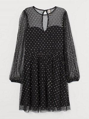 H&M Meshklänning med glitter svart