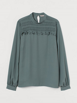 H&M Blus med smock grön