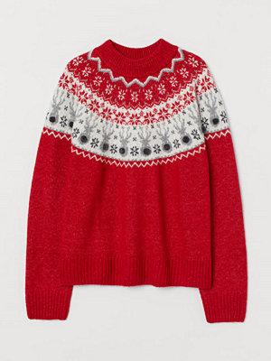 H&M Jacquardstickad tröja röd