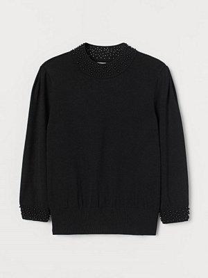 H&M Tröja med pärlor svart