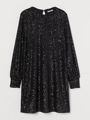 H&M Långärmad paljettklänning svart