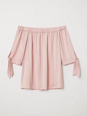 H&M Off shoulder-blus rosa