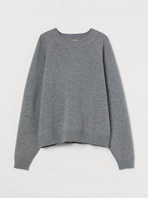 H&M Finstickad tröja i ull grå