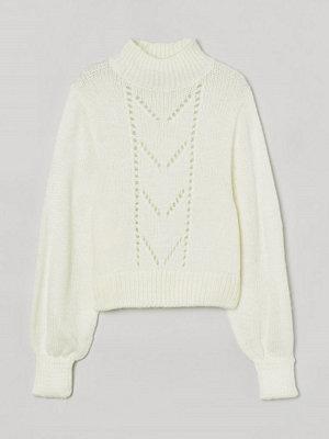 H&M Stickad tröja med pointelle vit