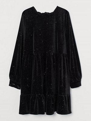 H&M Velourklänning med knytband svart