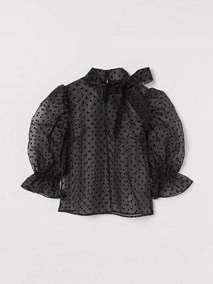 H&M Knytblus i organza svart