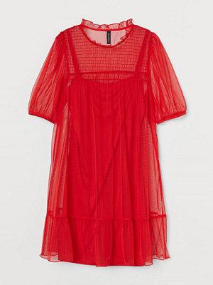 H&M Klänning med puffärm röd
